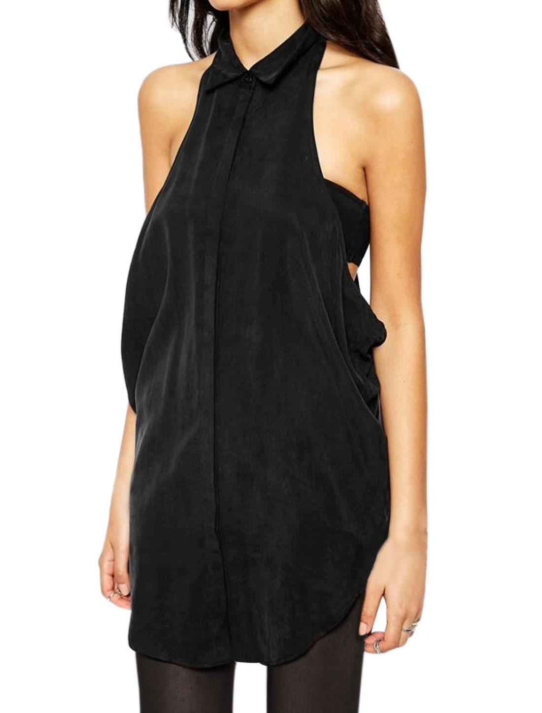 Women Point Collar Open Sides Hidden Placket Tunic Shirt Black XS
