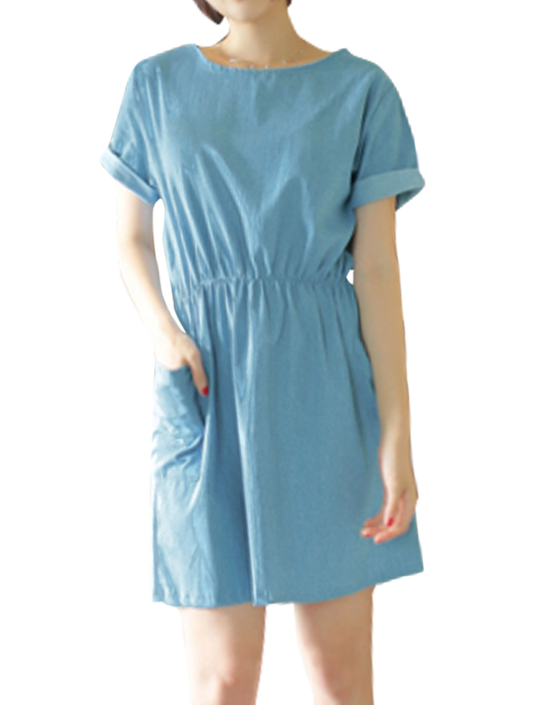Women Short Sleeves Elastic Waist Funnel Pockets A Line Dress Blue S