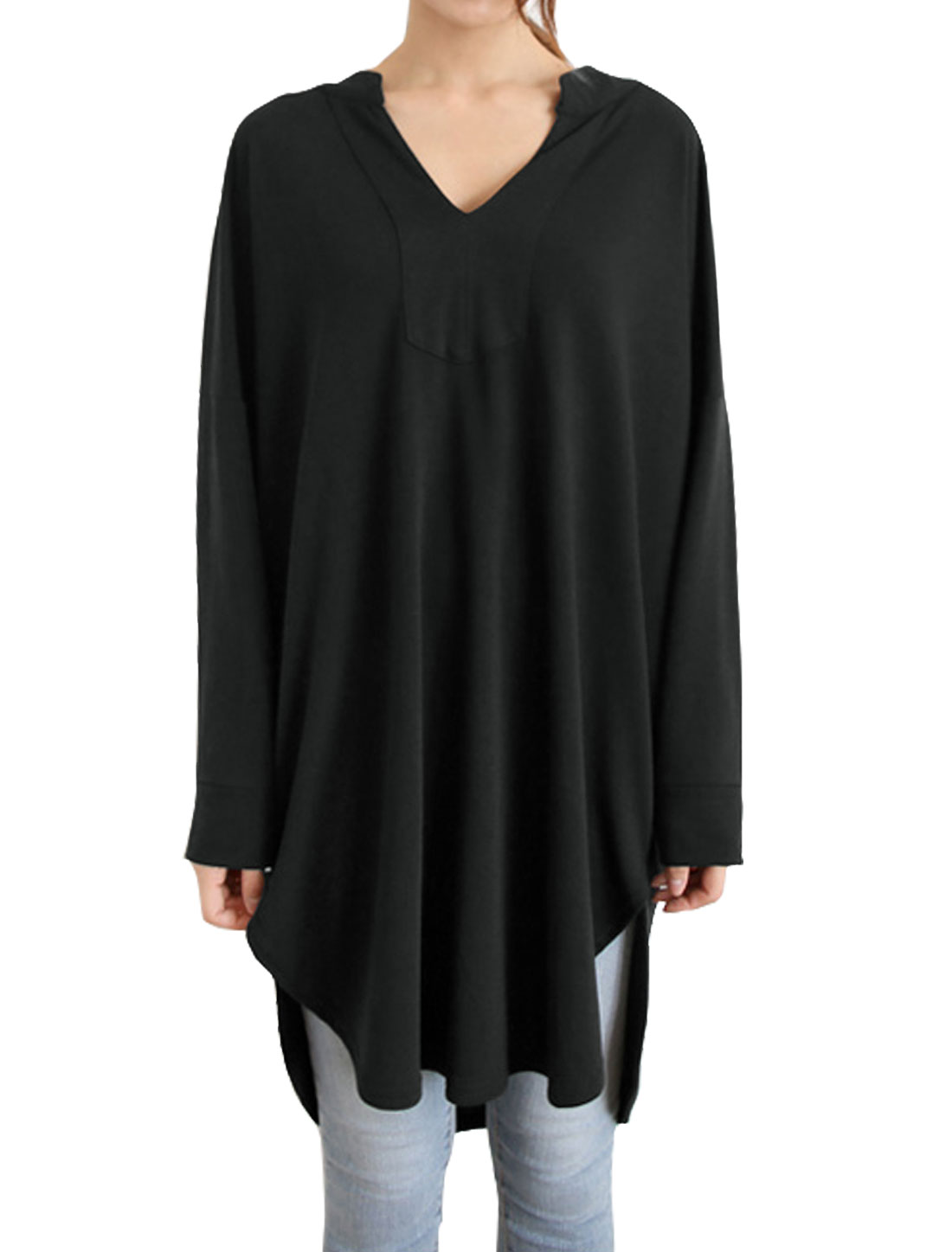 Women Drop Shoulder Batwing Sleeves Loose Tunic Blouse Black S