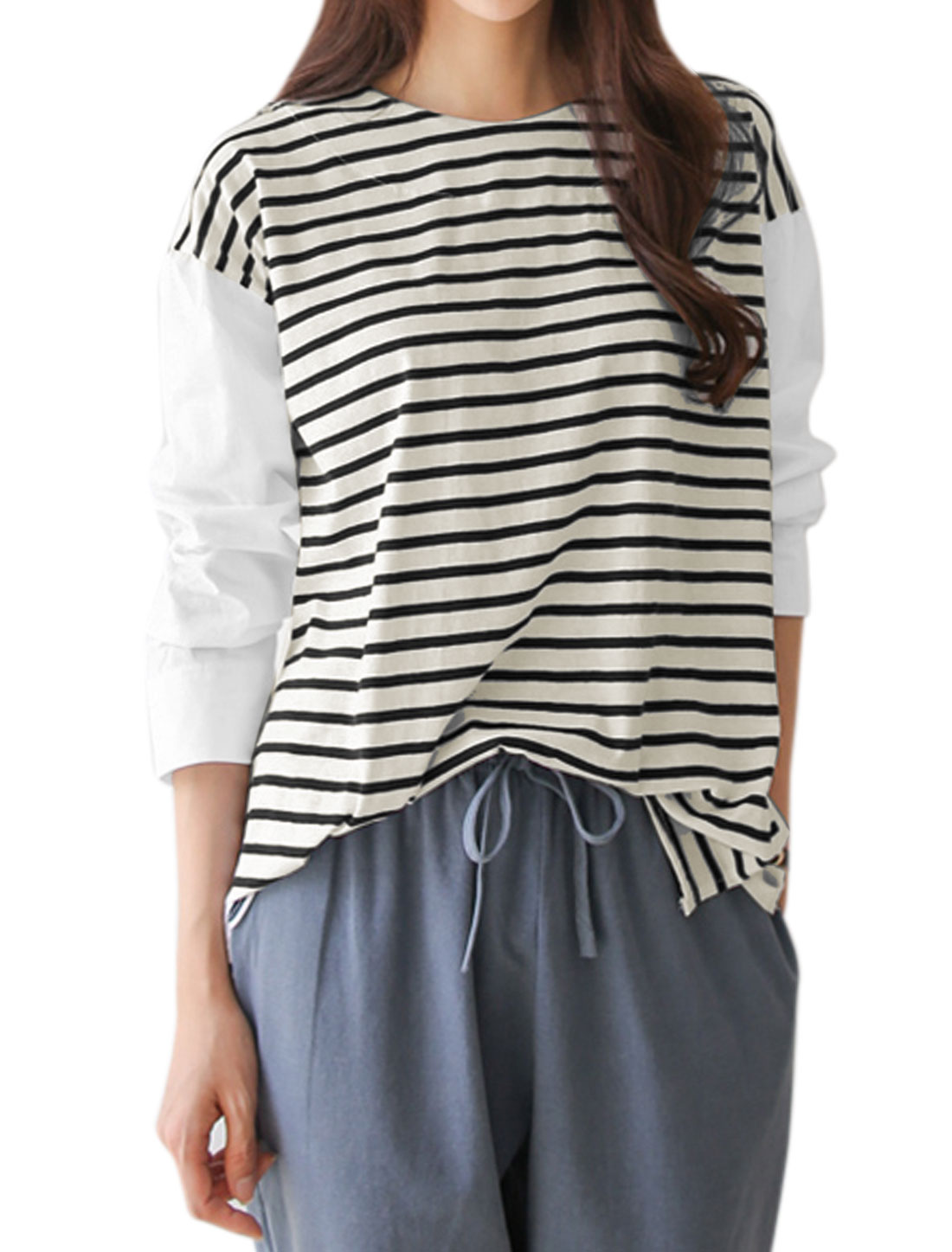 Laides Batwing Sleeves Paneled Stripes Loose Top White XS