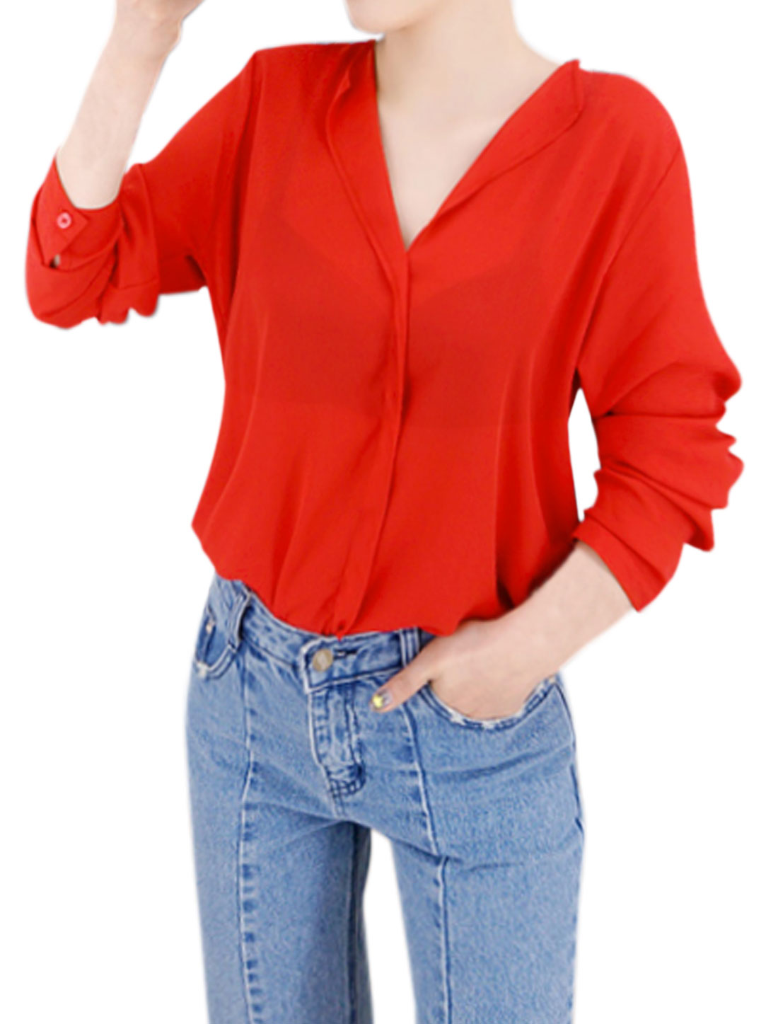 Women V Neckline Long Sleeves Loose Blouse Red S