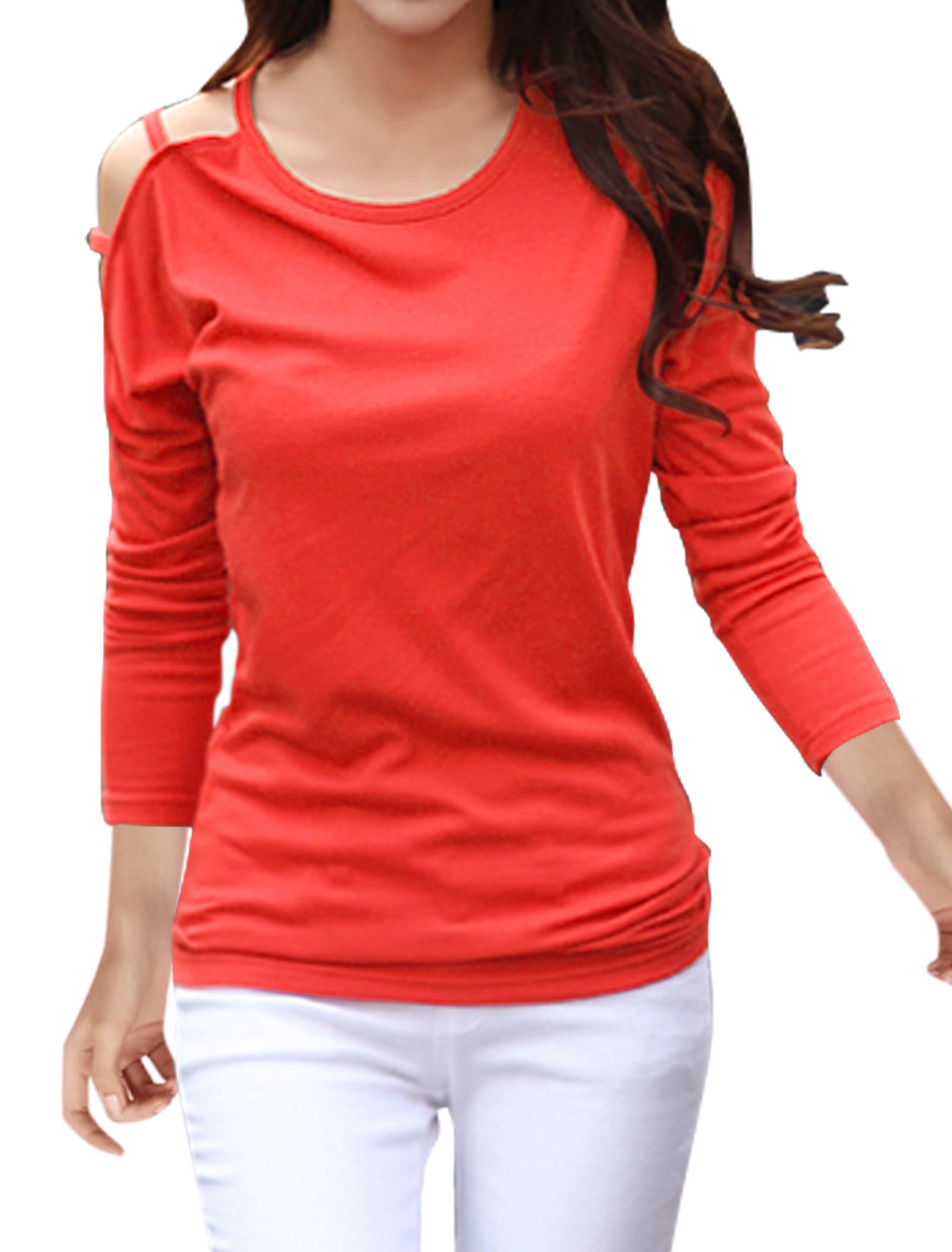 Women Round Neck Cut Out Dolman Sleeves Top Red M