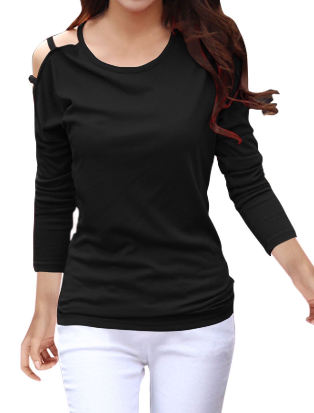 Women Round Neck Cut Out Dolman Sleeves Top Black M