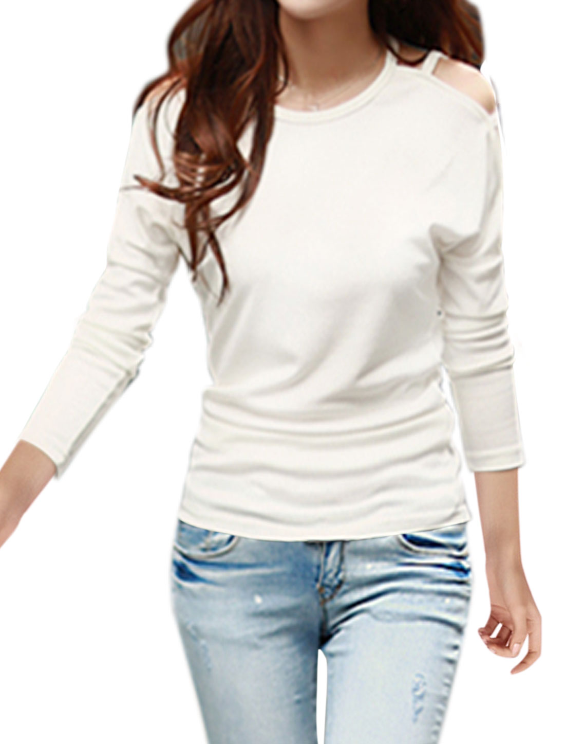 Women Round Neck Cut Out Dolman Sleeves Top White M