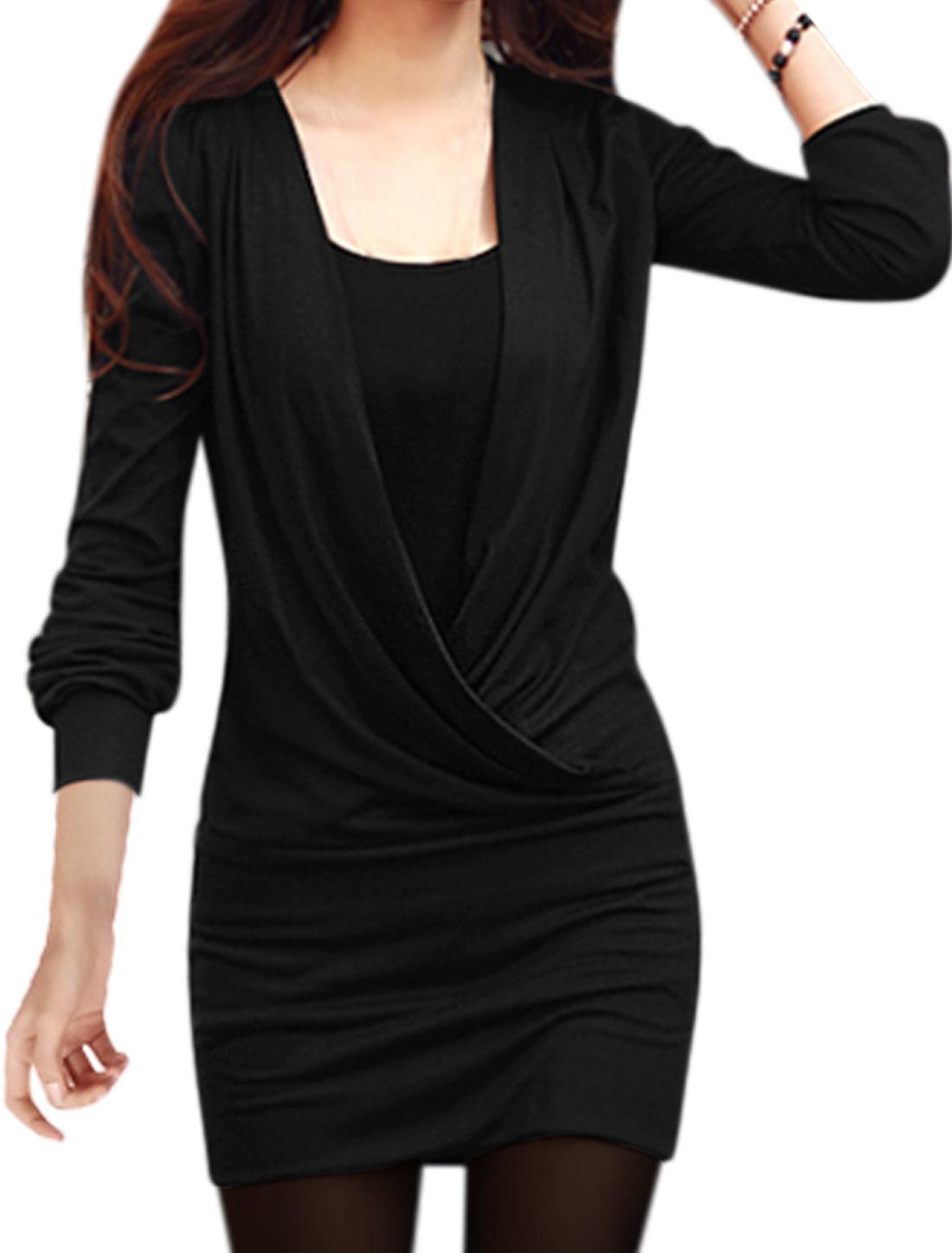 WWomen Wrap Design Tunic Top w Slim Fit Cami Sets Black S