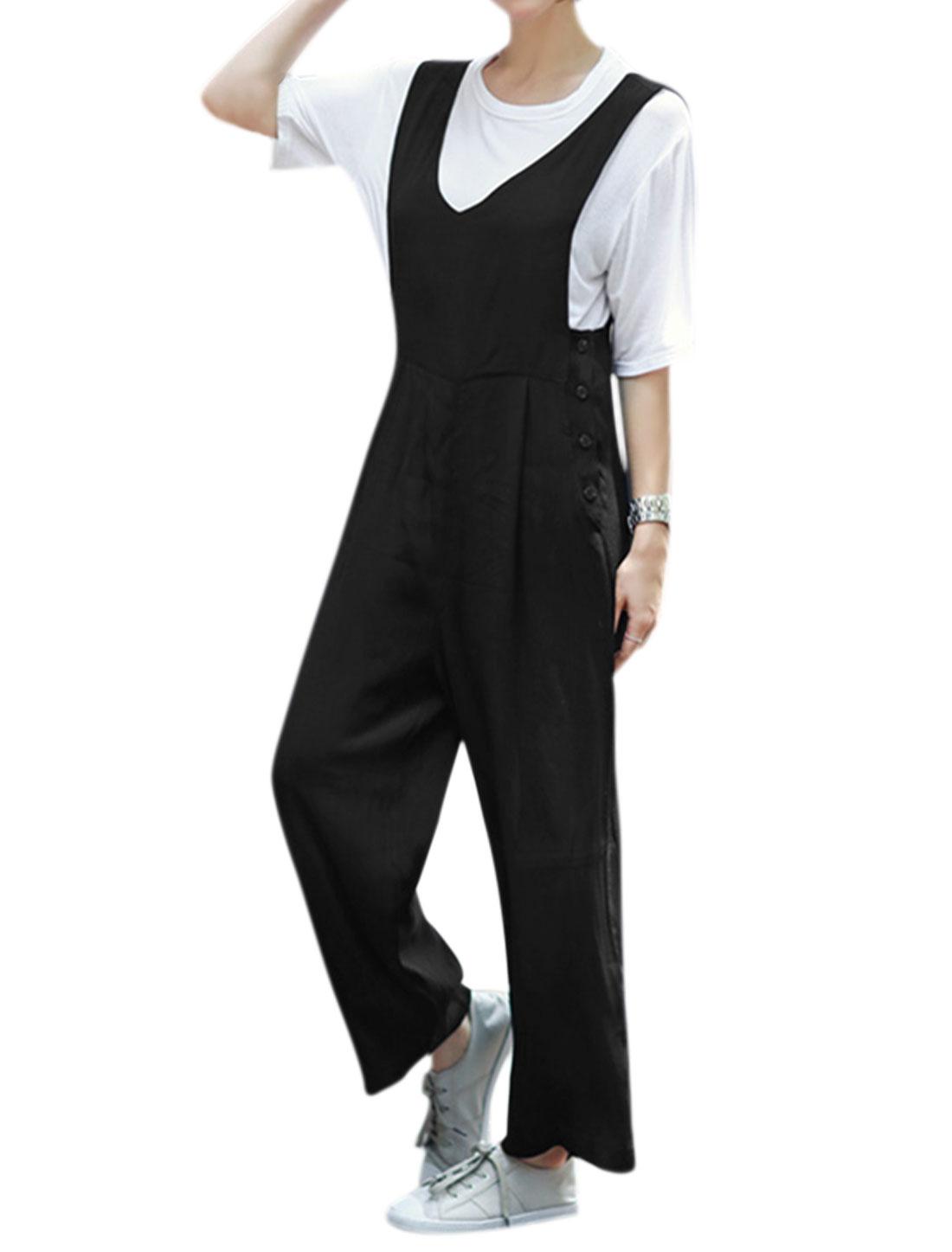 Women V Neckline Buttons Sides Wide Legs Suspender Pants Black S