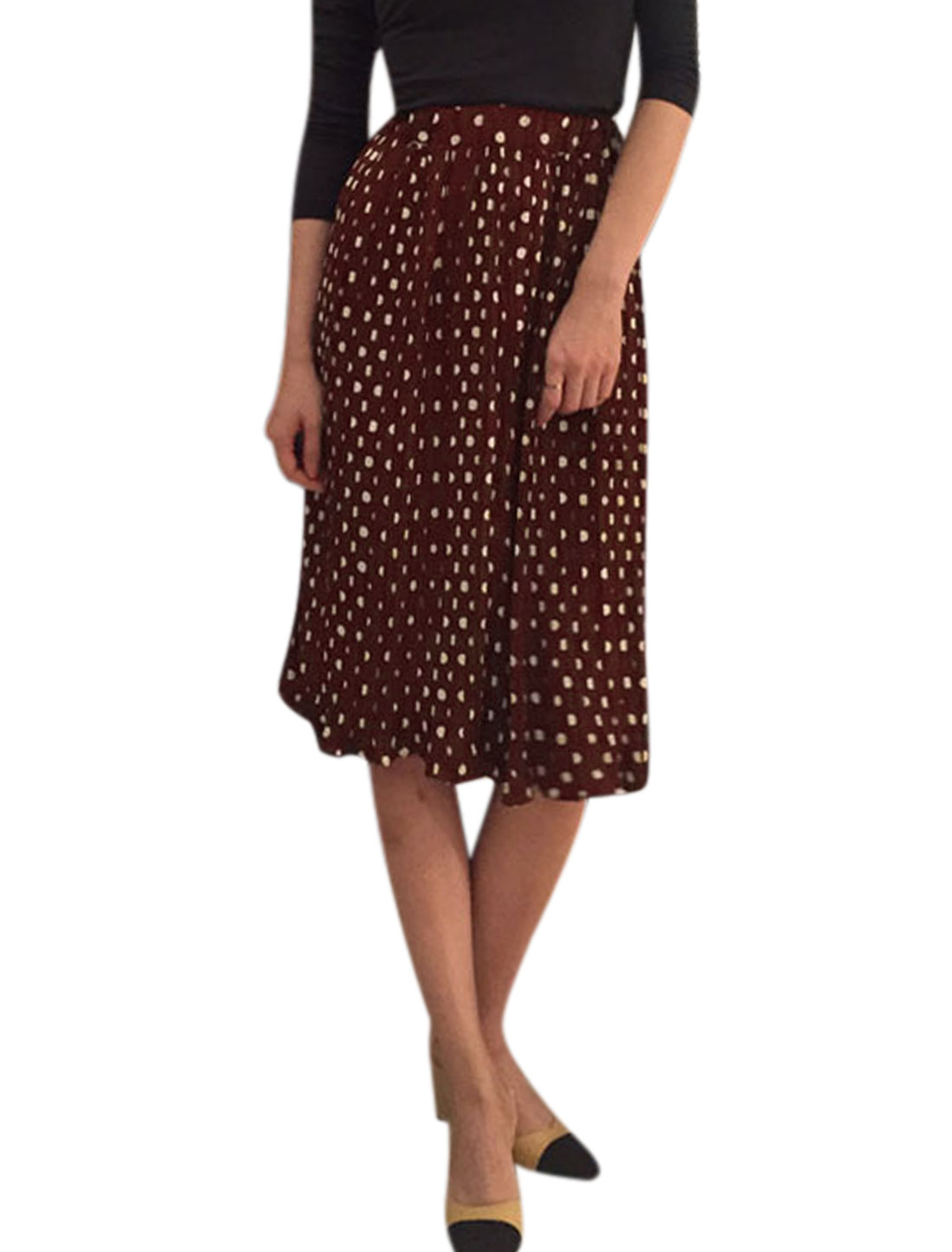 Women Elastic Waist Polka Dots Knee Length Pleated Skirt Red XS