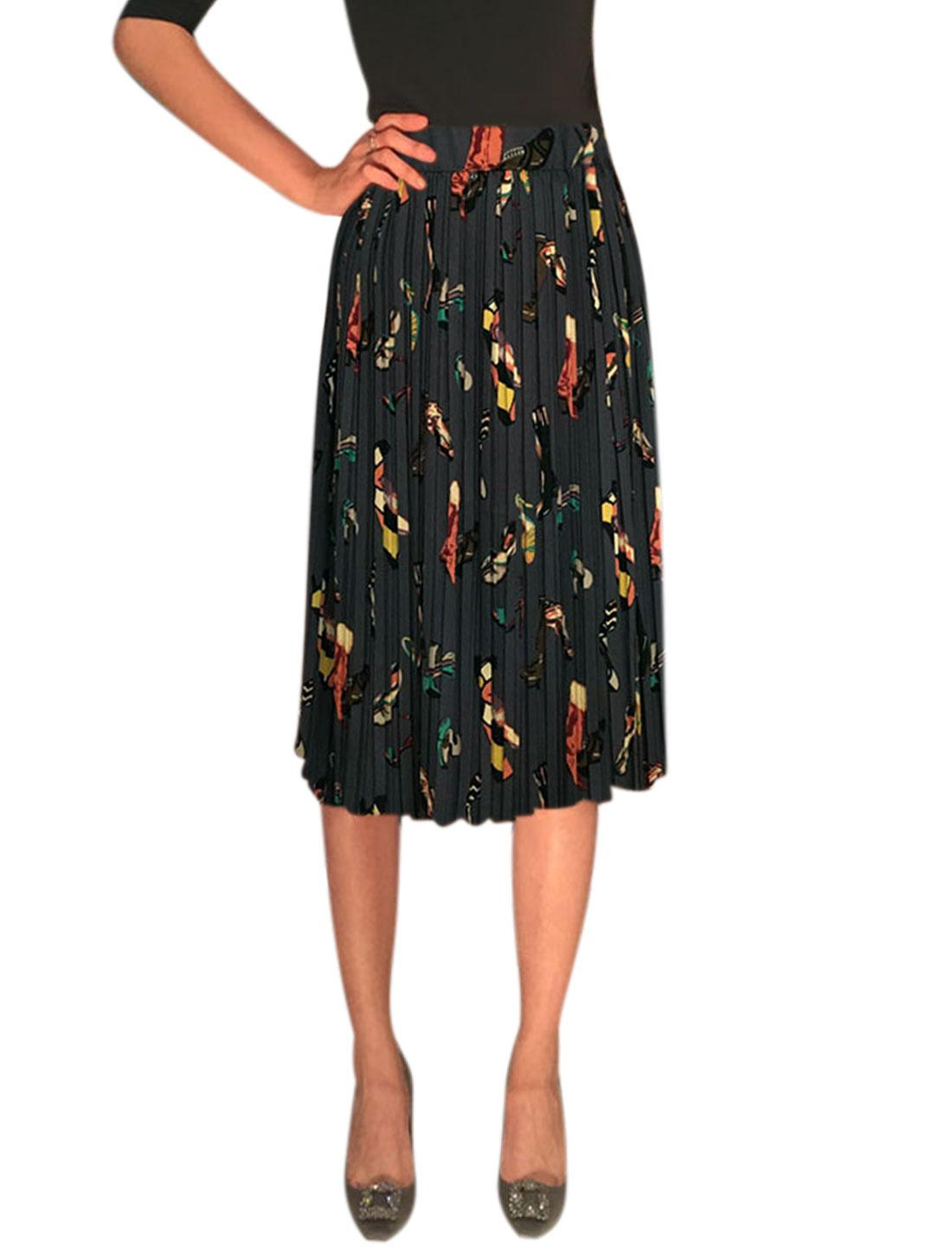 Women Elastic Waist Shoes Prints Knee Length Pleated Skirt Gray XS