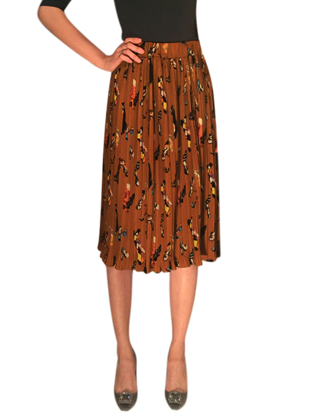 Women Elastic Waist Shoes Prints Knee Length Pleated Skirt Brown XS