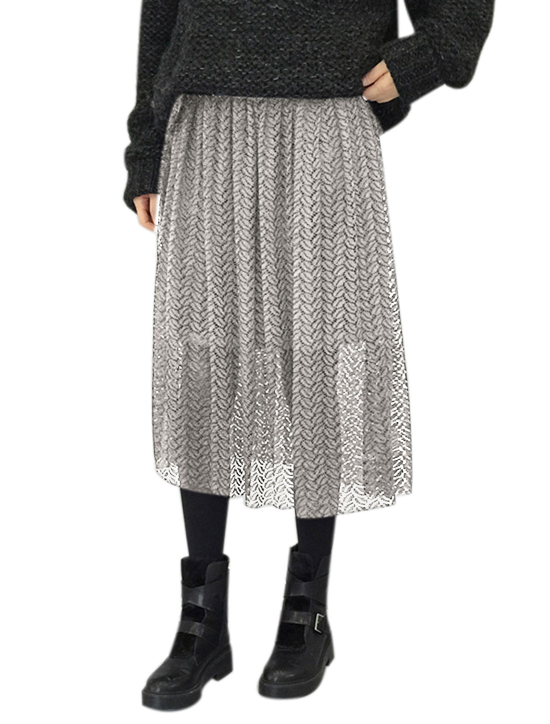 Women Elastic Waist Pleated Lace Midi Skirt Gray XS