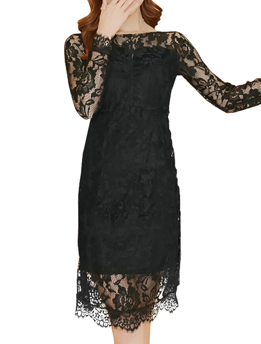 Women Semi Sheer Yoke Backless Floral Lace Sheath Dress Black S