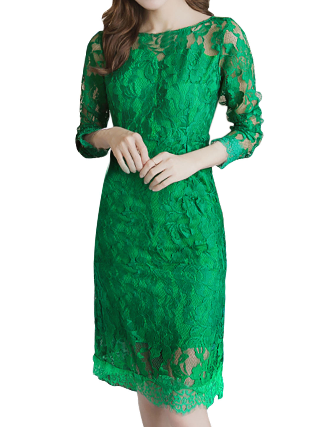 Women Semi Sheer Yoke Backless Floral Lace Sheath Dress Green S