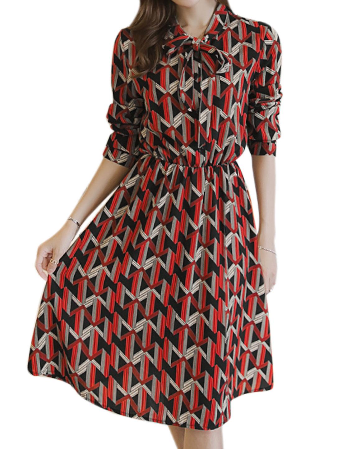Women Pussybow Neck Buttons Upper Geometric Shirt Dress Red S
