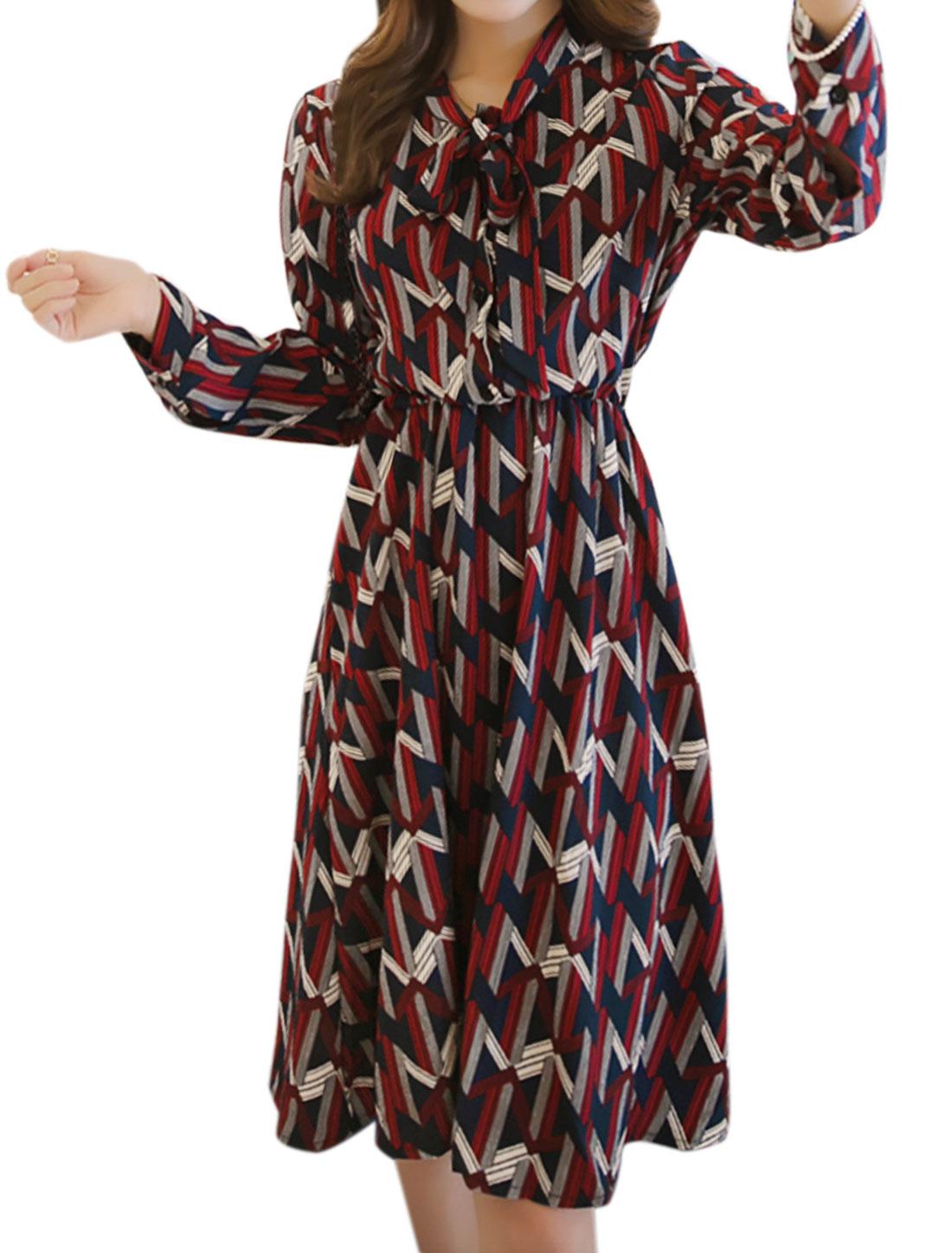 Women Pussybow Neck Buttons Upper Geometric Shirt Dress Burgundy S