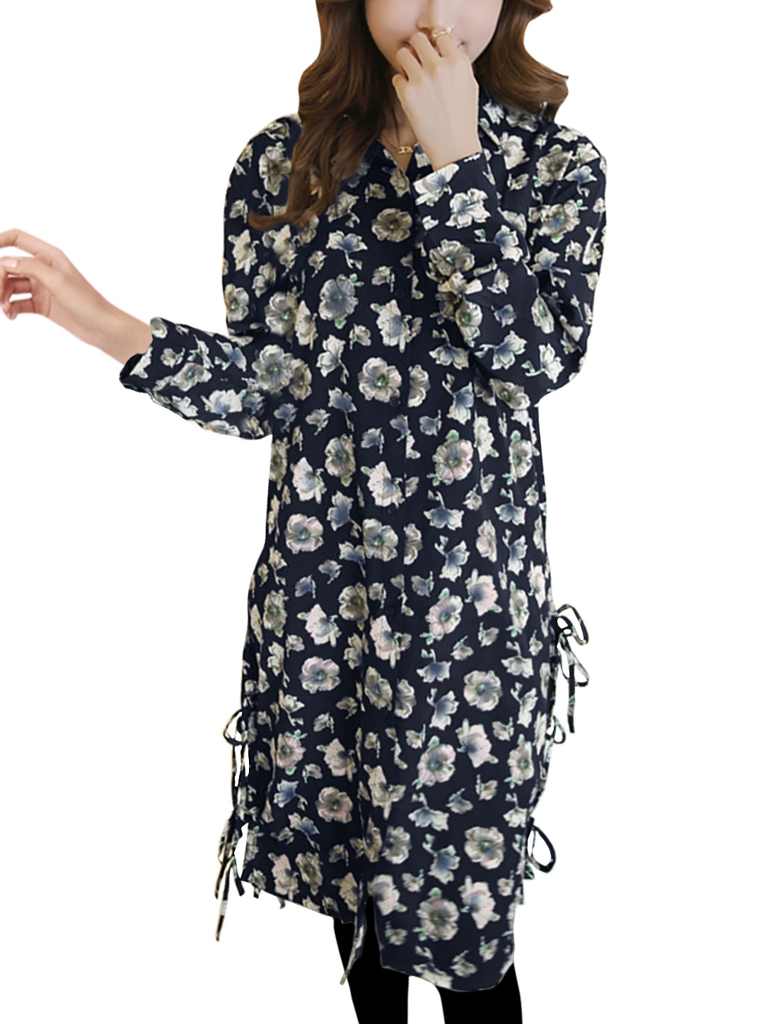 Women Single Breasted Self Ties Sides Floral Tunic Shirt Blue S