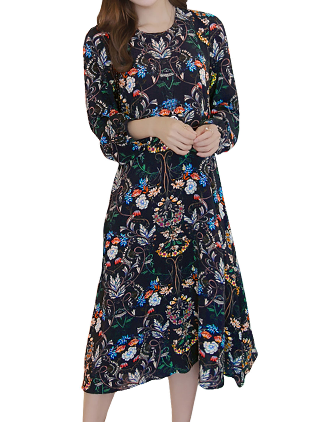 Women Long Sleeves Keyhole Back Floral Midi Dress Black S