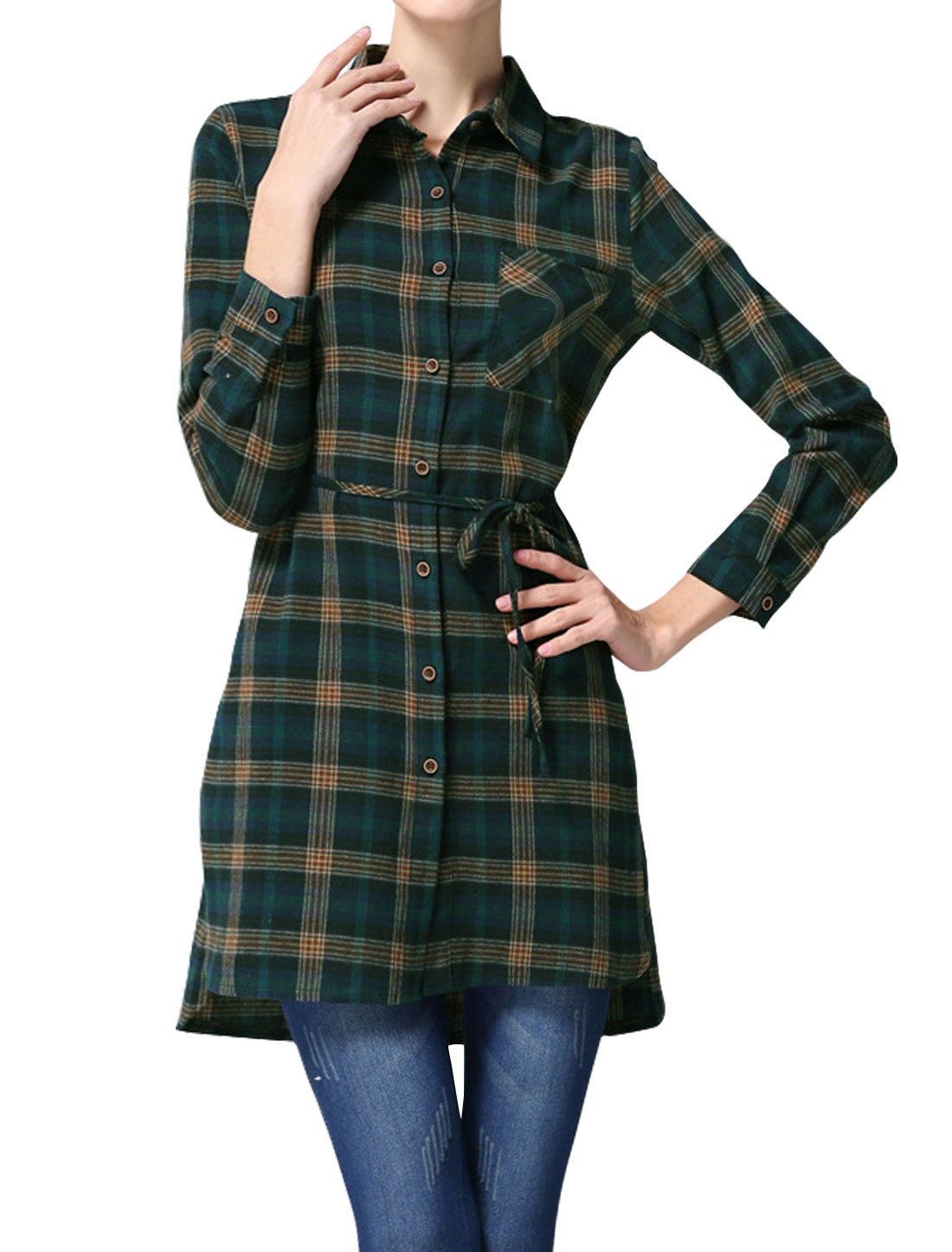 Women One Pocket Slim Fit Plaids Tunic Shirt w Waist String Green S