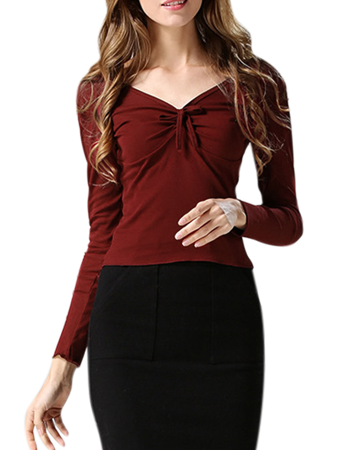 Women Deep V Neck Long Sleeves Self Tie Front Slim Fit T-Shirt Red XS
