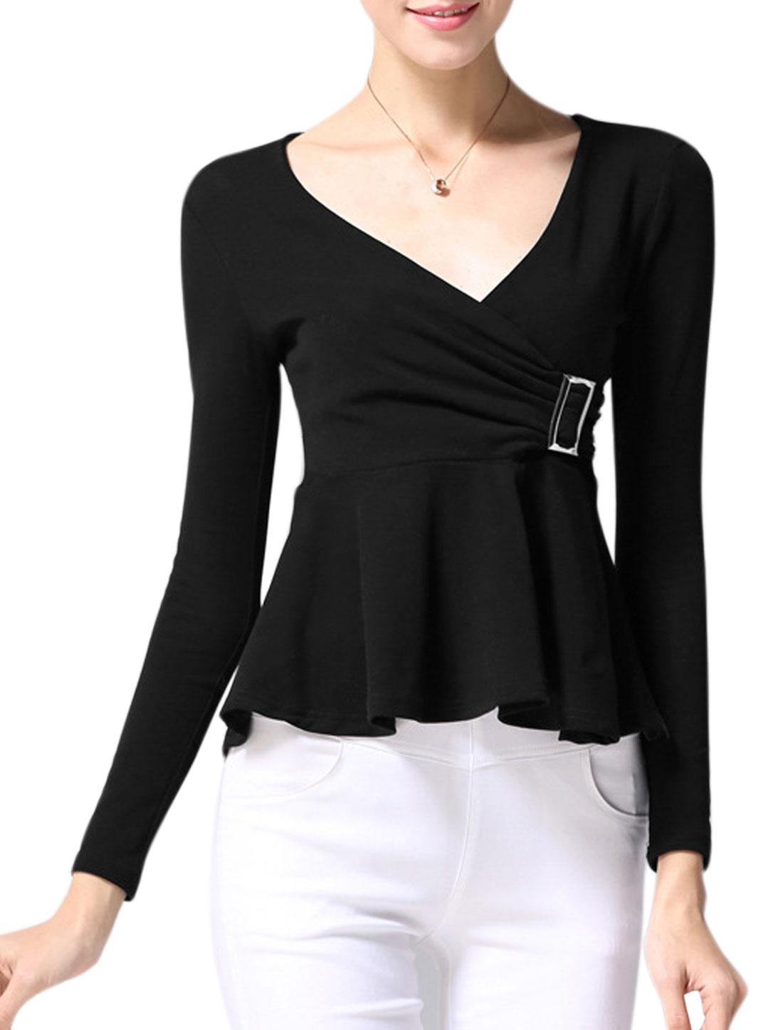 Women Crossover V Neck Long Sleeves Buckle Decor Peplum Top Black XS