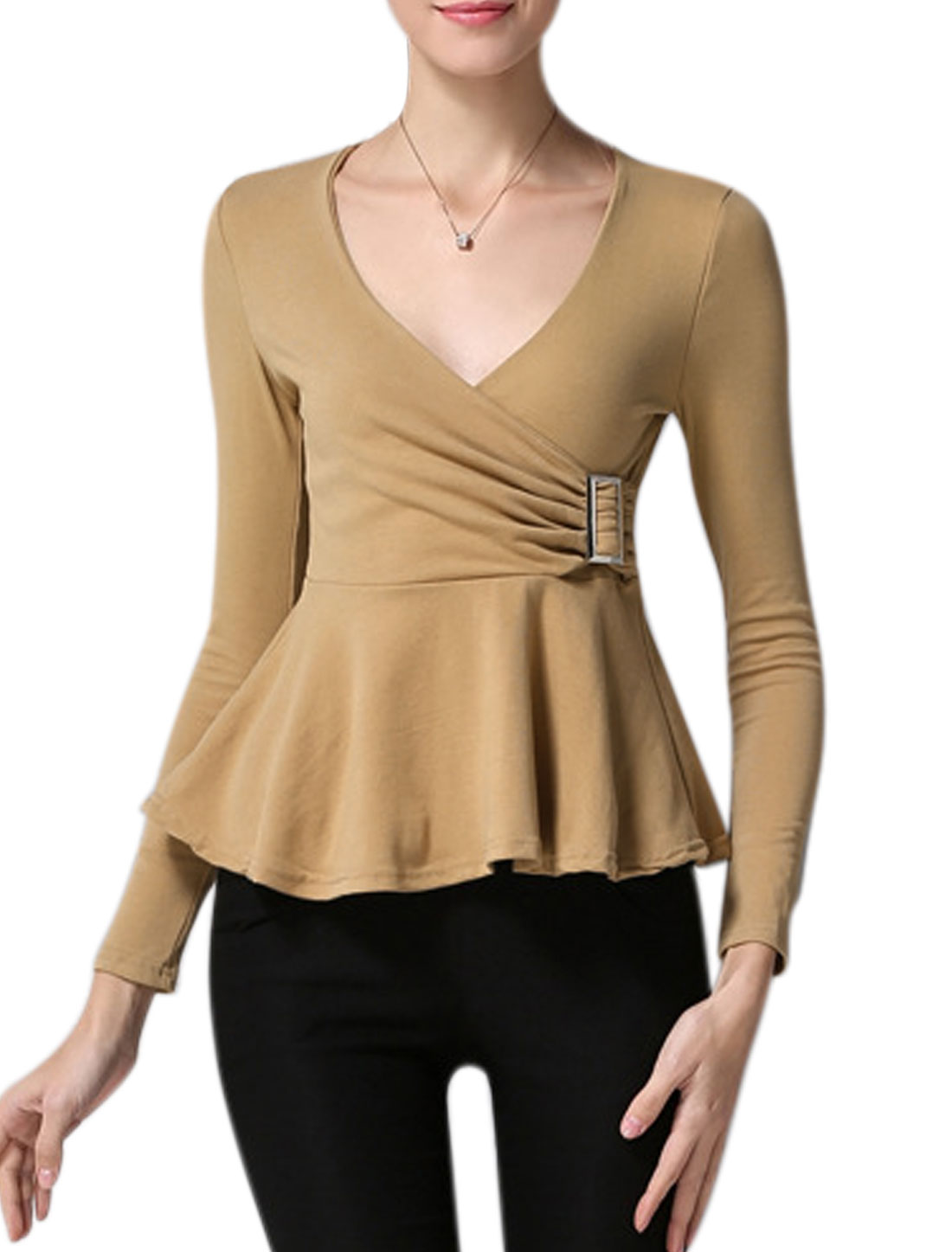 Women Crossover V Neck Long Sleeves Buckle Decor Peplum Top Brown XS