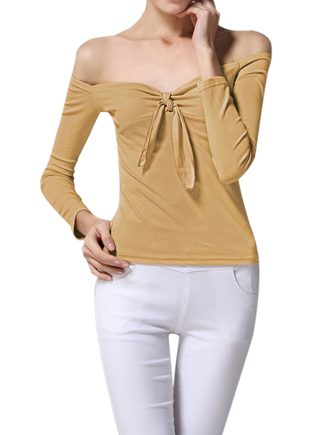 Women Off the Shoulder Knot Bust Stretchy Slim Fit Top Brown XS