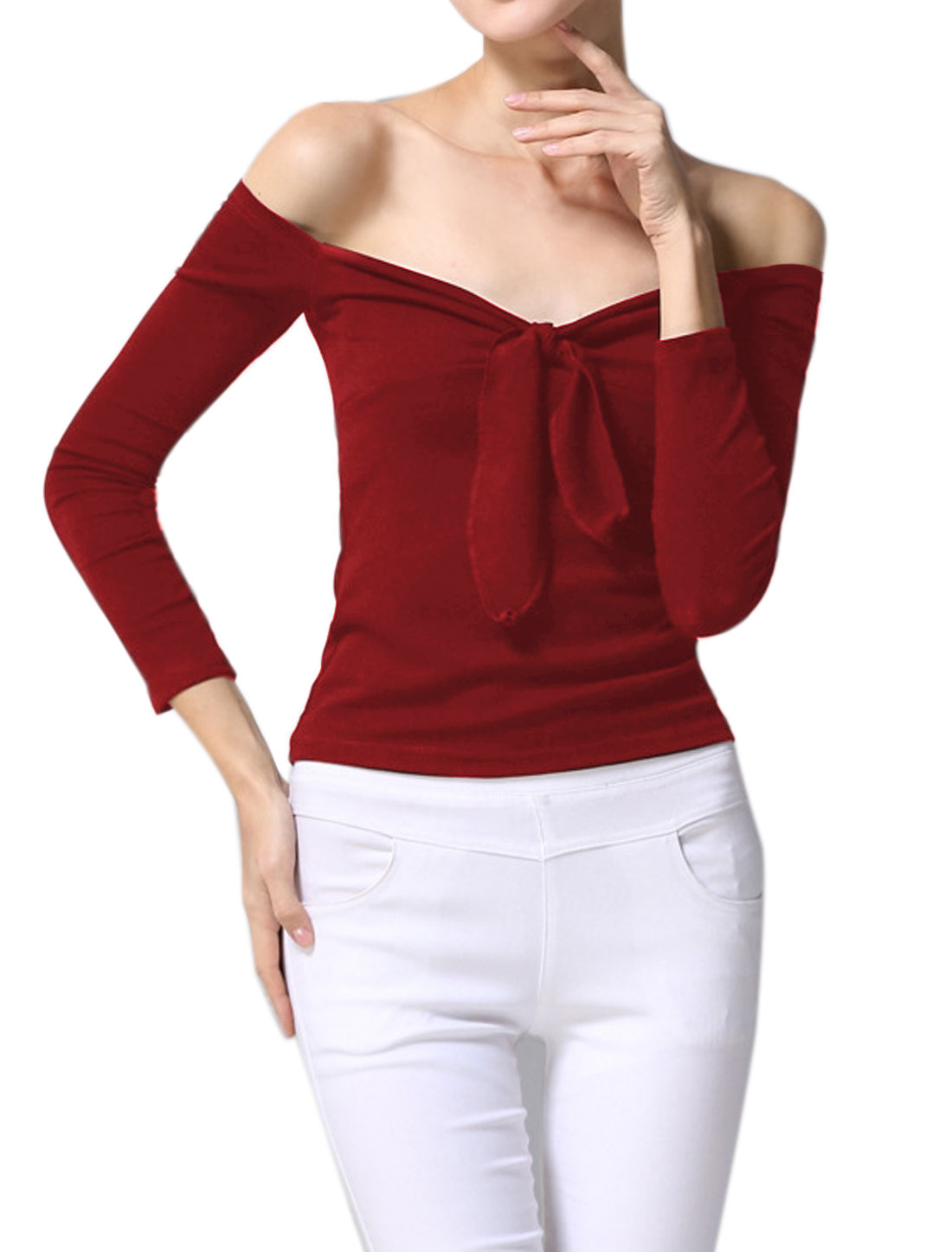 Women Off the Shoulder Knot Bust Stretchy Slim Fit Top Red XS