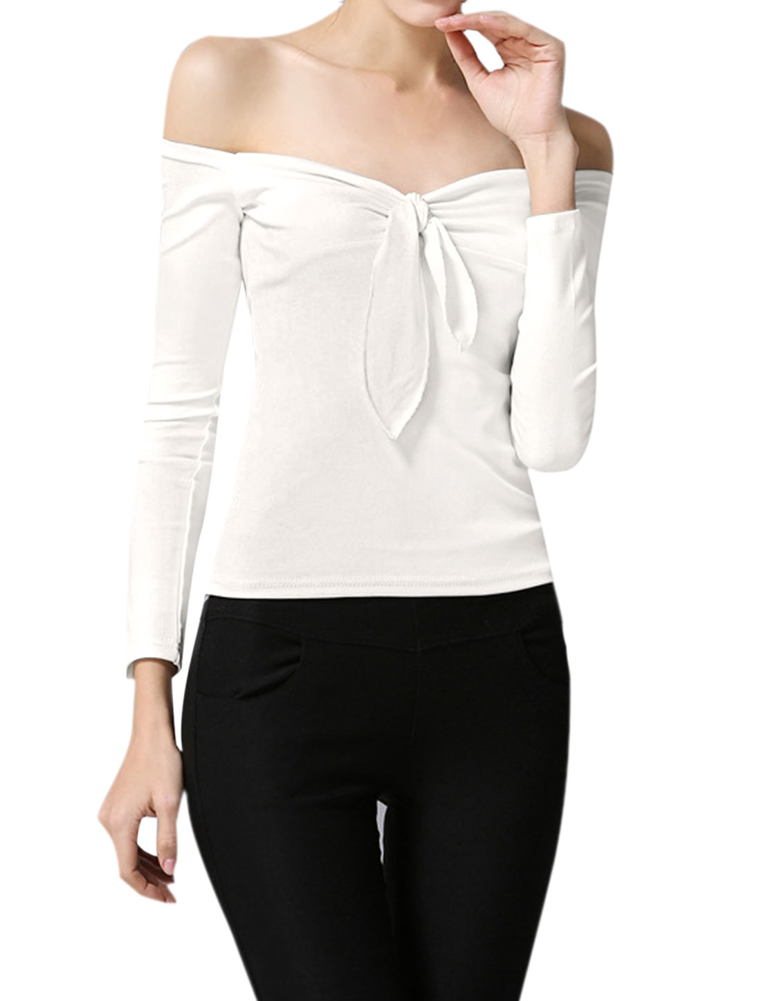 Women Off the Shoulder Knot Bust Stretchy Slim Fit Top White XS