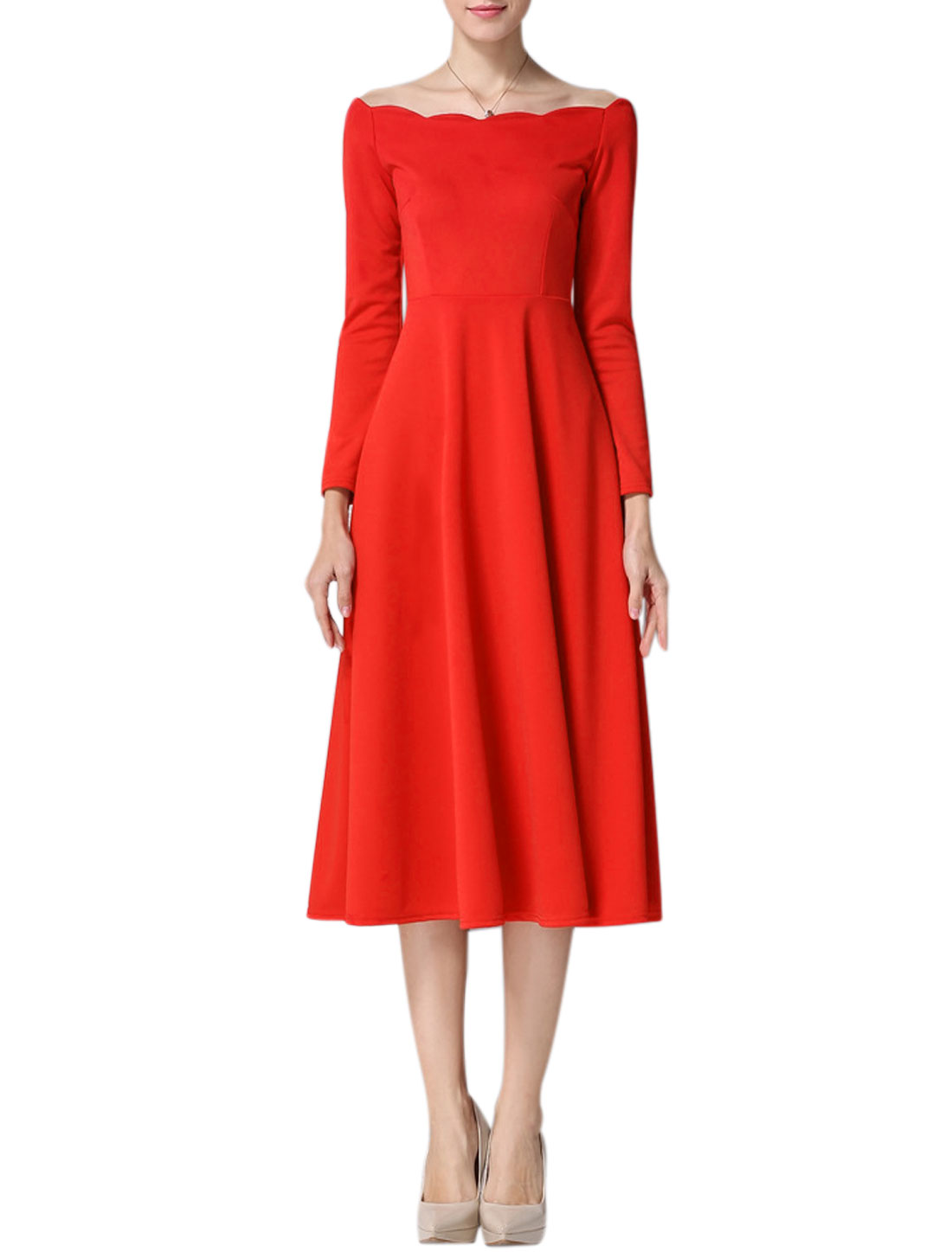 Woman Scalloped Boat Neck Bracelet Sleeves Midi Dress Red M