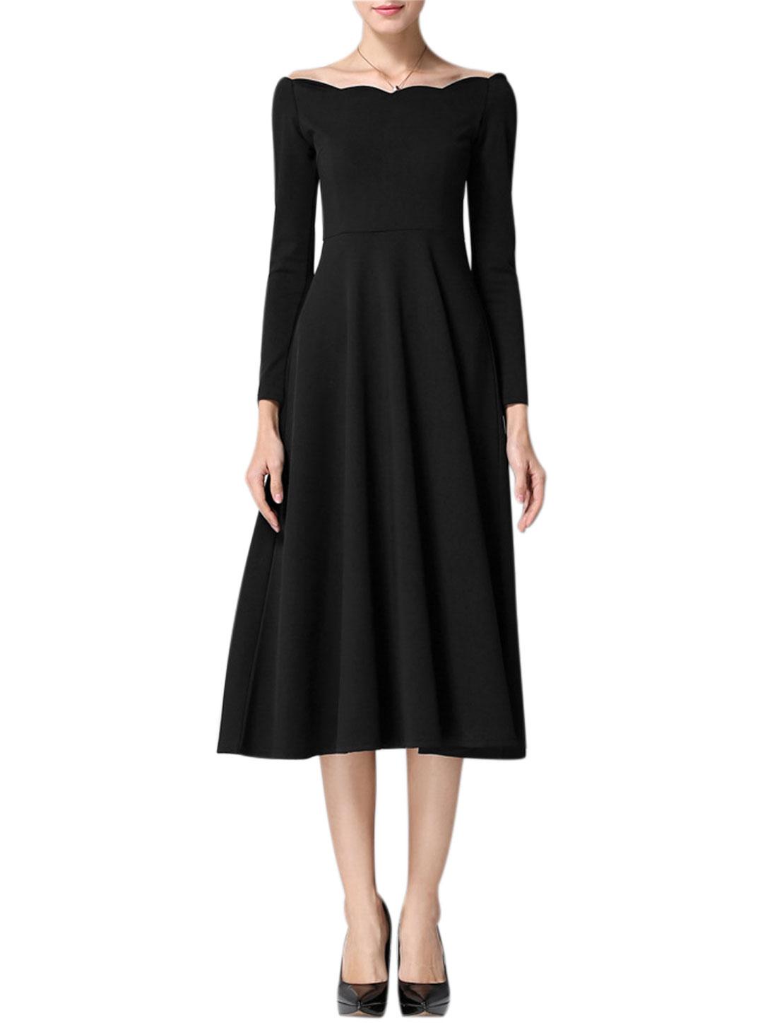 Woman Scalloped Boat Neck Bracelet Sleeves Midi Dress Black M