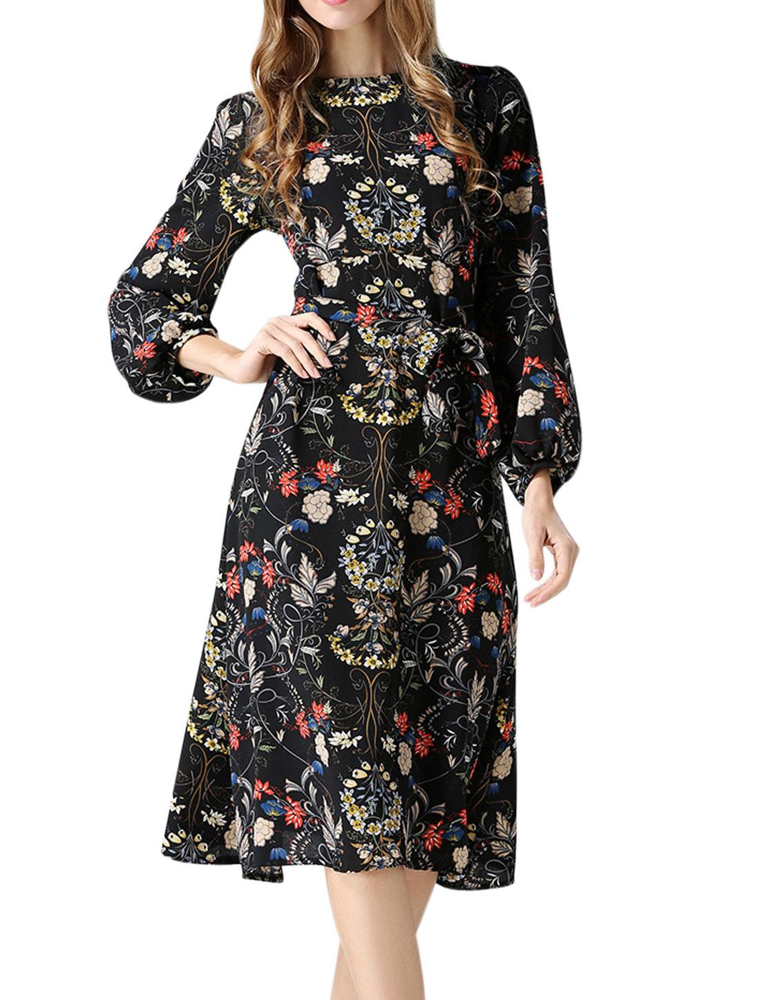 Woman Long Sleeves Floral Prints Dress w Waist String Black XS
