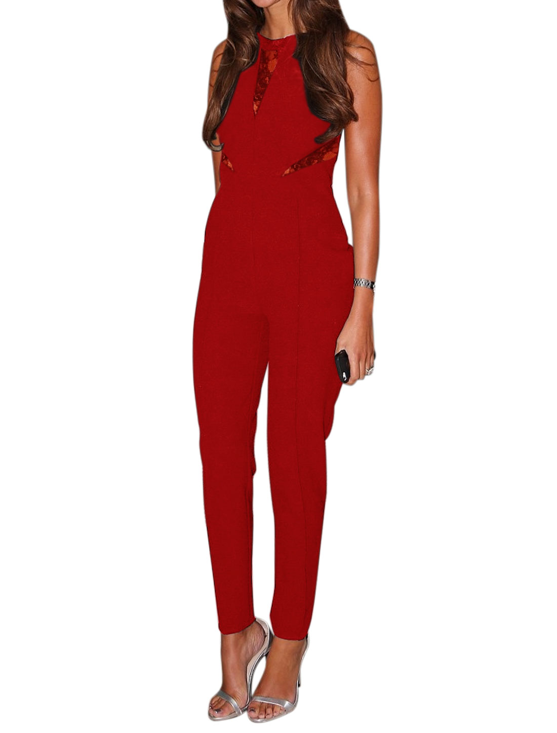 Women Crew Neck Sleeveless Semi Sheer Lace Panel Jumpsuit Red S
