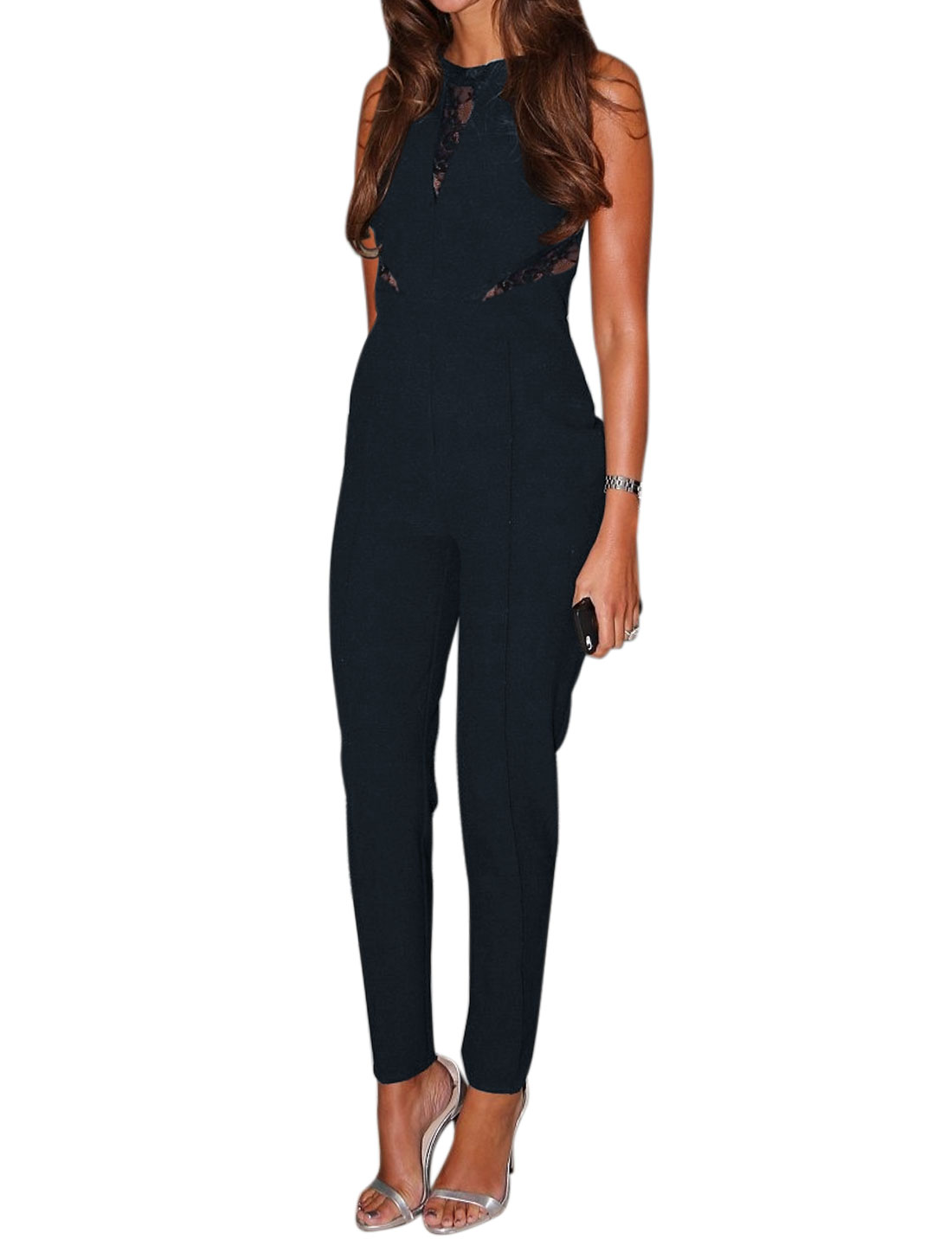 Women Crew Neck Sleeveless Semi Sheer Lace Panel Jumpsuit Blue S