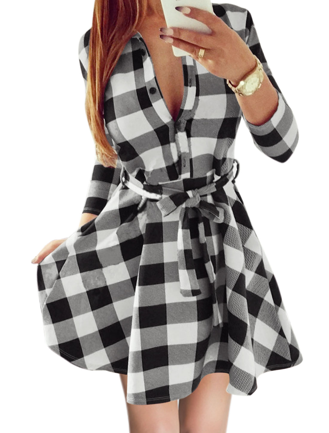 Women Half Button Closed Plaids Shirt Dress w Waist String Black S