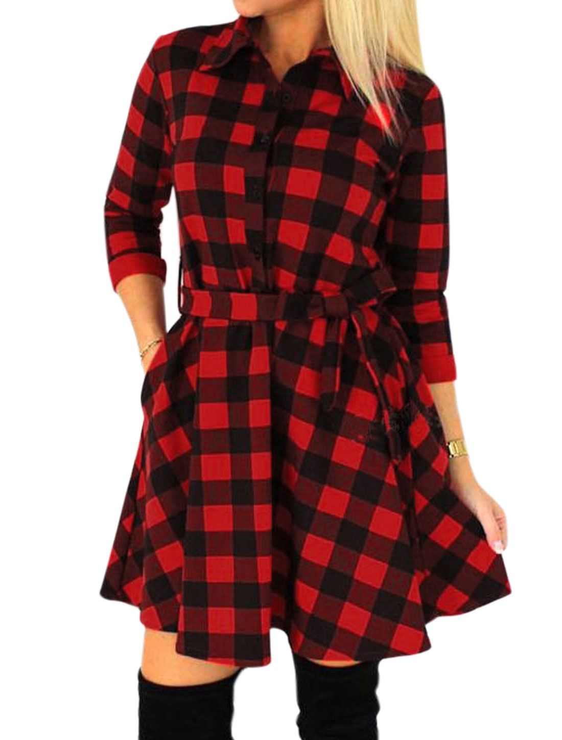Women Half Button Closed Plaids Shirt Dress w Waist String Red S