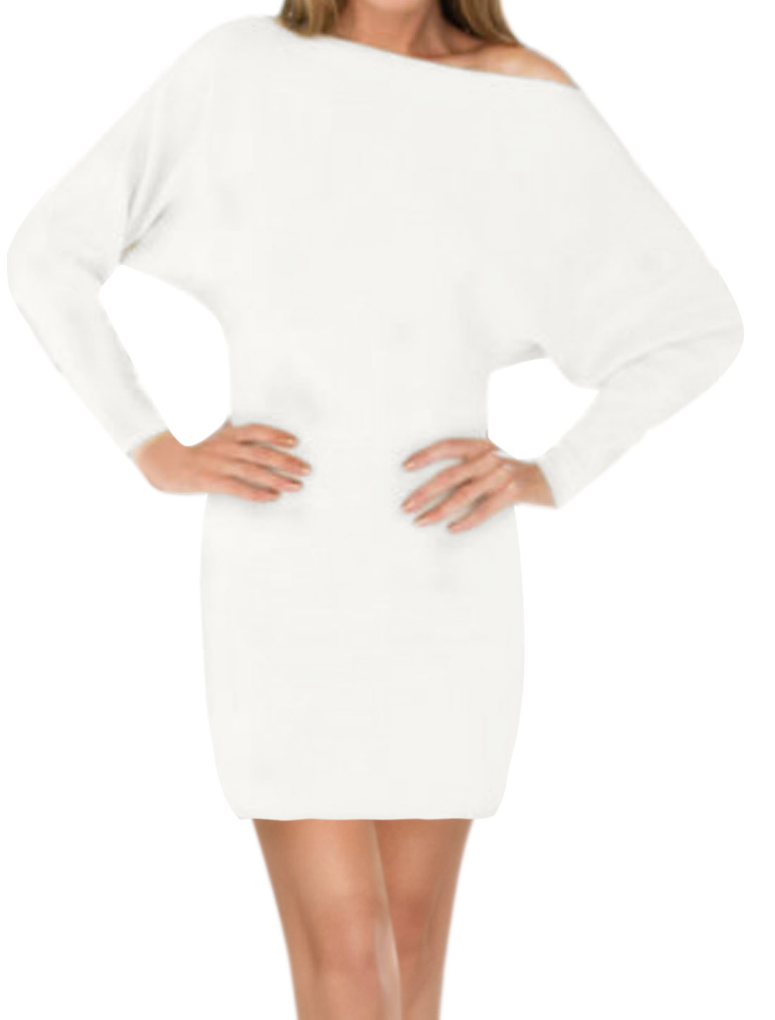 Women Boat Neck Dolman Sleeves Elastic Waist Sheath Dress White M
