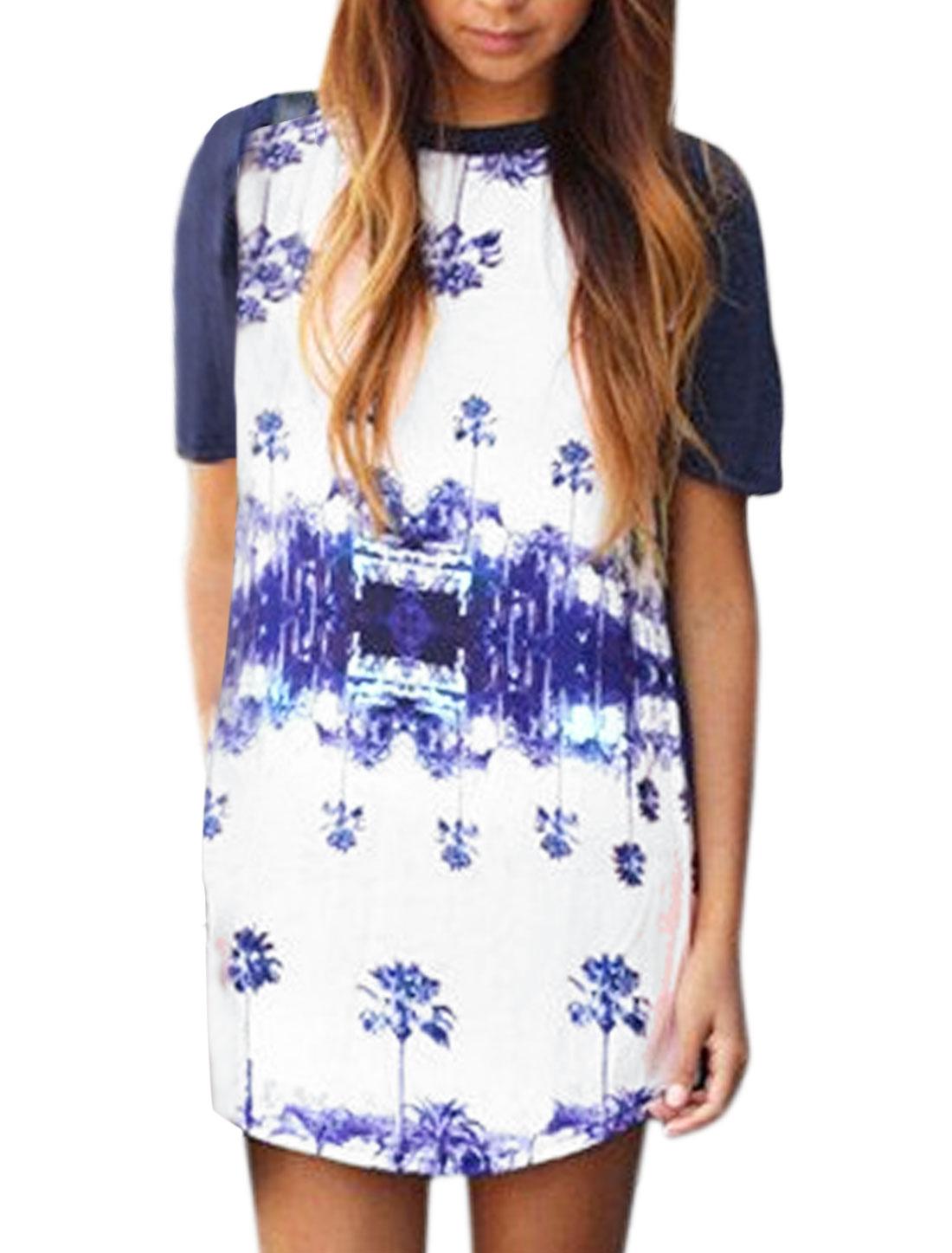 Women Palm Tree Print Paneled Contrast Color Tee Shirt Dress Blue S