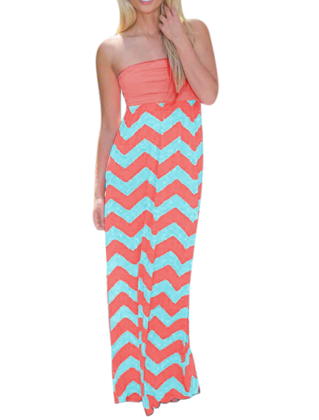 Woman Strapless Zig-Zag Pattern Open Back Maxi Dress Pink L