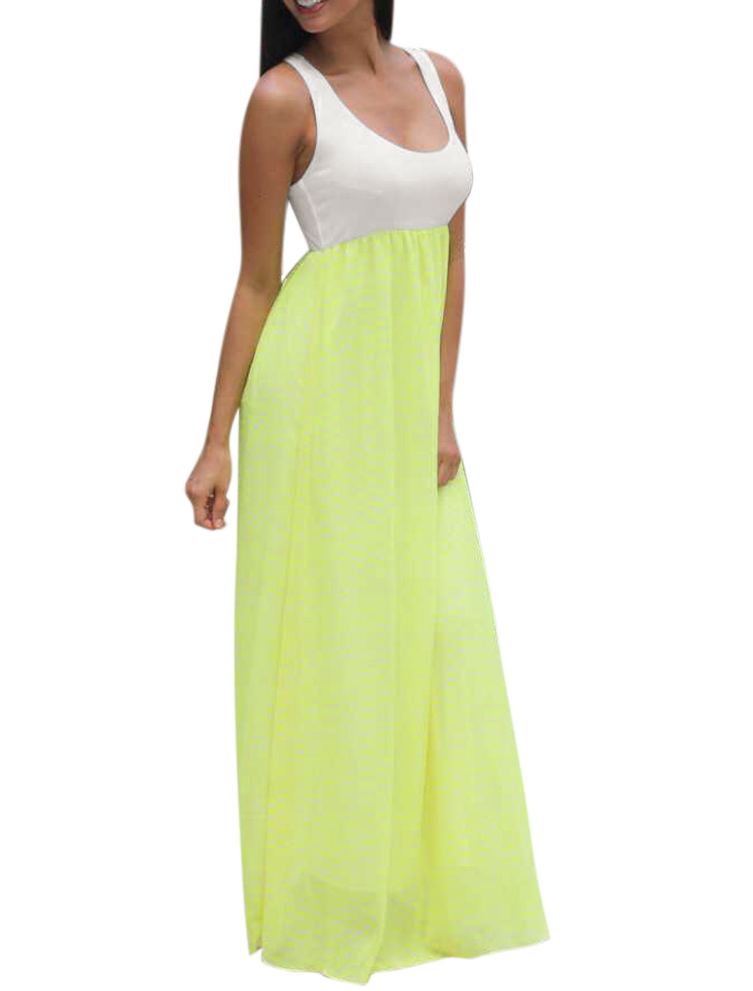 Woman Sleeveless Paneled Color Block Racer Back Maxi Dress Green M
