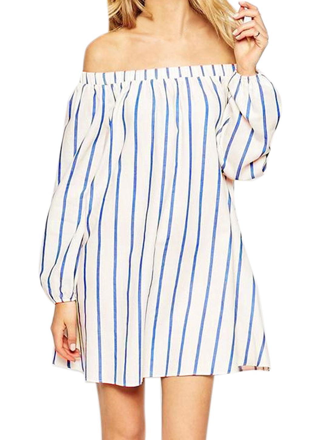 Women Off the Shoulder Long Sleeves Stripes Loose Tunic Dress White S