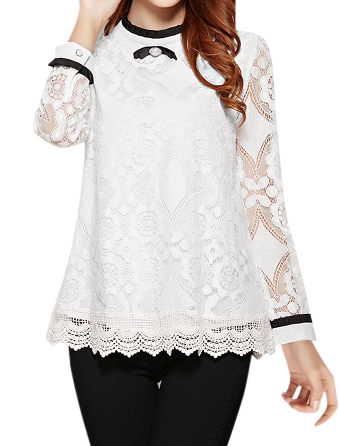 Women Bowknot Decor Crochet Panel Semi Sheer Lace Blouse White M