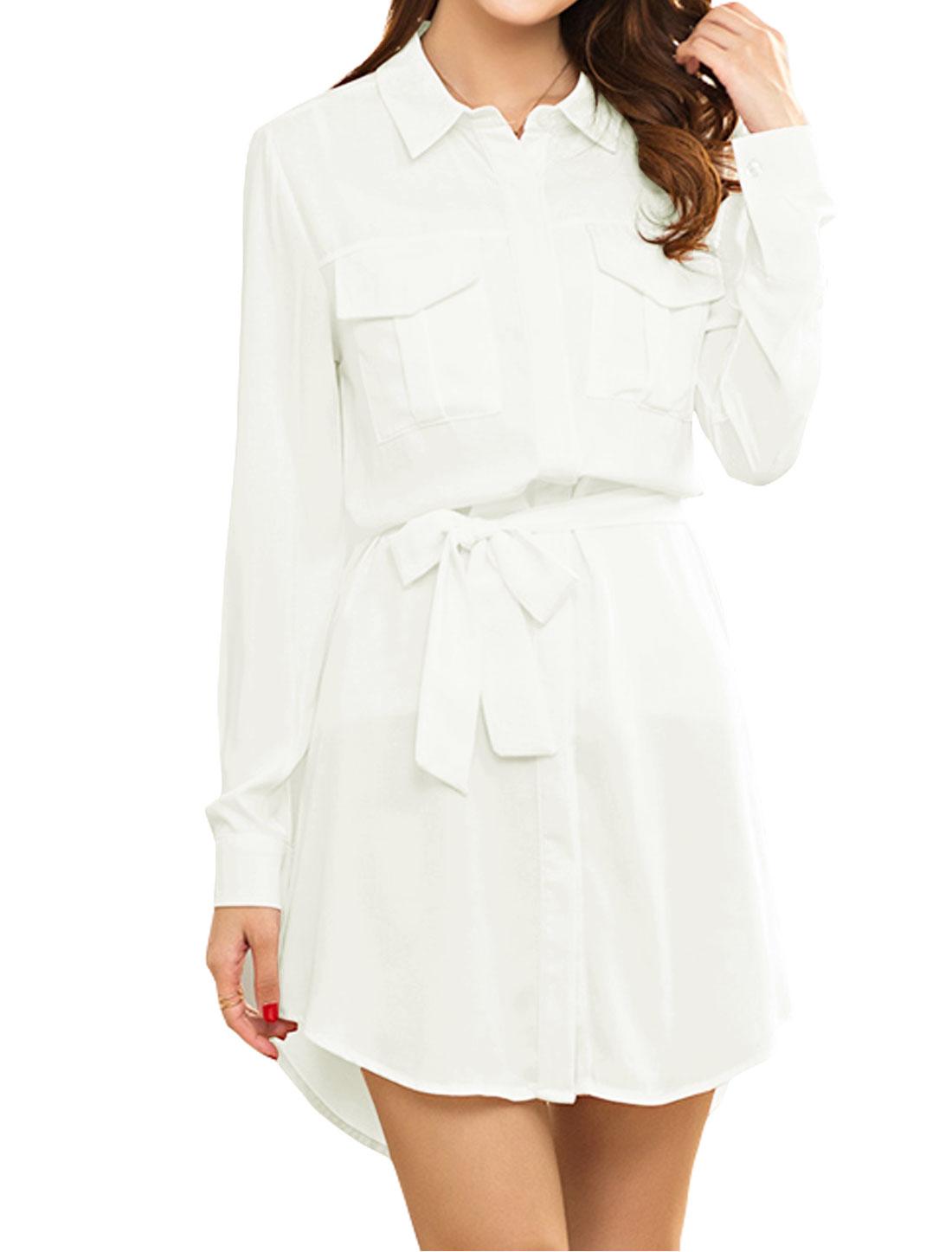 Woman Roll Up Sleeves Tunic Shirt Dress w Waist String White M