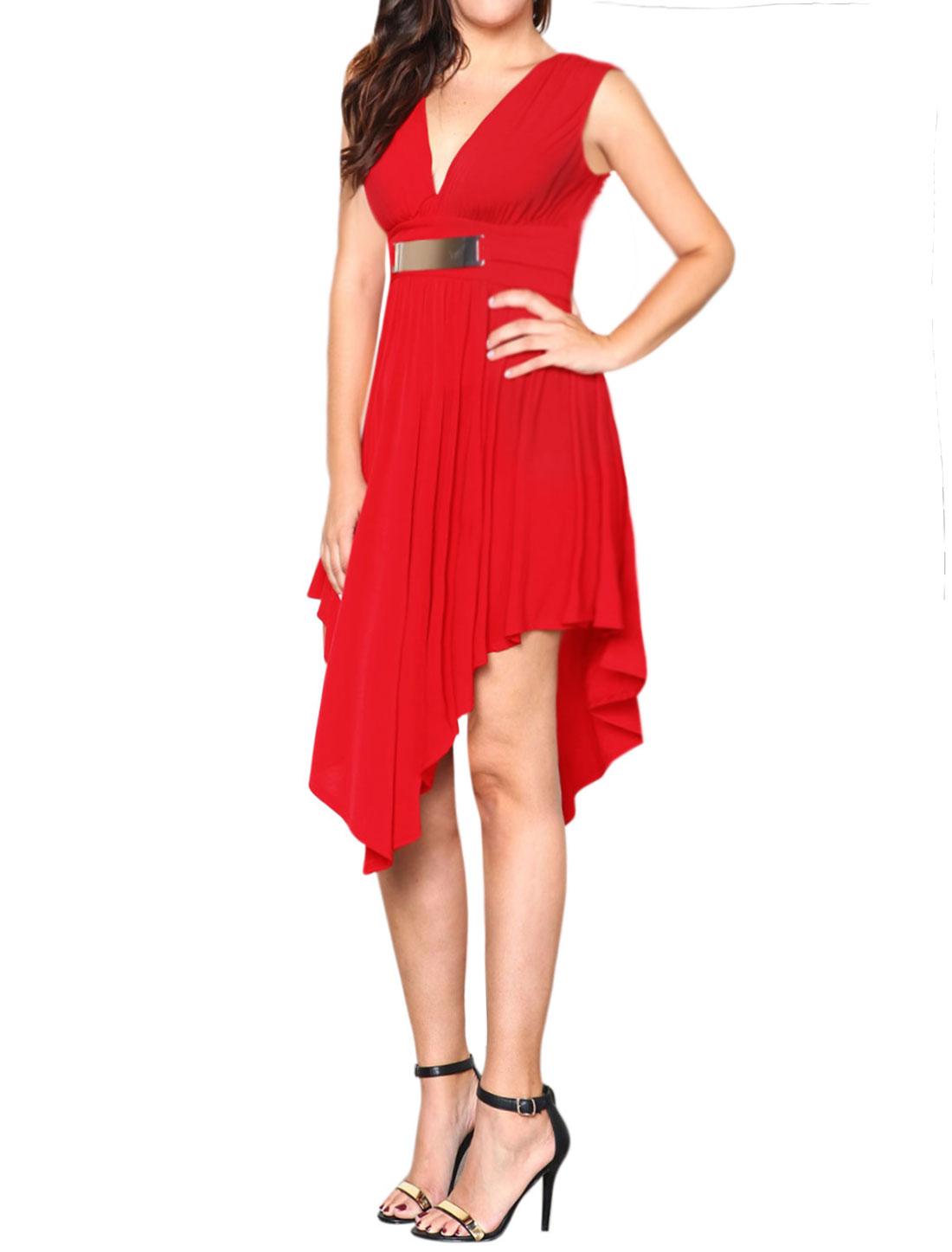 Women Sleeveless Deep V Neck Asymmetric A Line Dress Red L