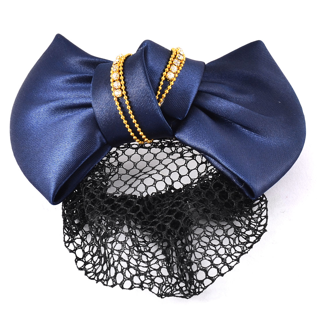 Blue Nylon Bowknot Design Snood Net Holder Hair Clip Hairnet Hairclip for Lady