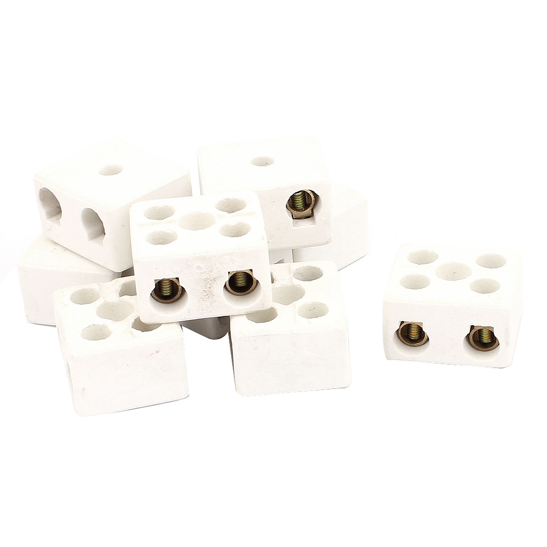 9PCS Cable Connector 2 Position 2 Row Ceramic Terminal Block 220V 30A