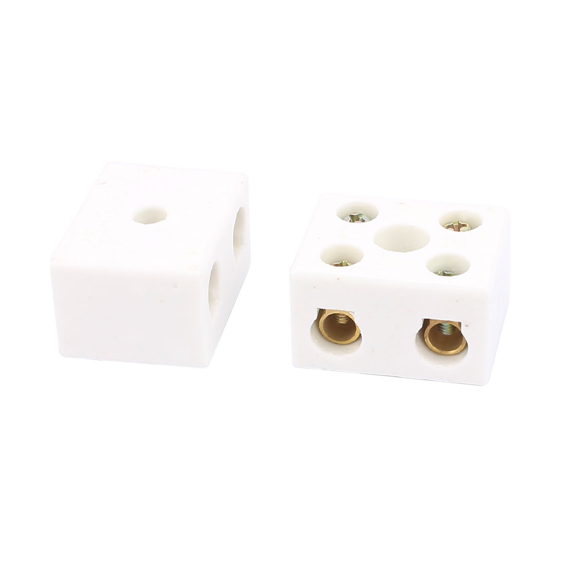 2pcs 2 Way 5 Hole 2W5H Porcelain Ceramic Terminal Block Wire Connector 25A