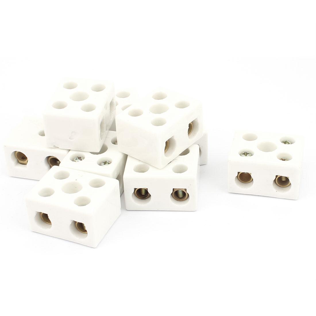 9pcs 2 Way 5 Hole 2W5H Porcelain Ceramic Terminal Block Wire Connector 25A