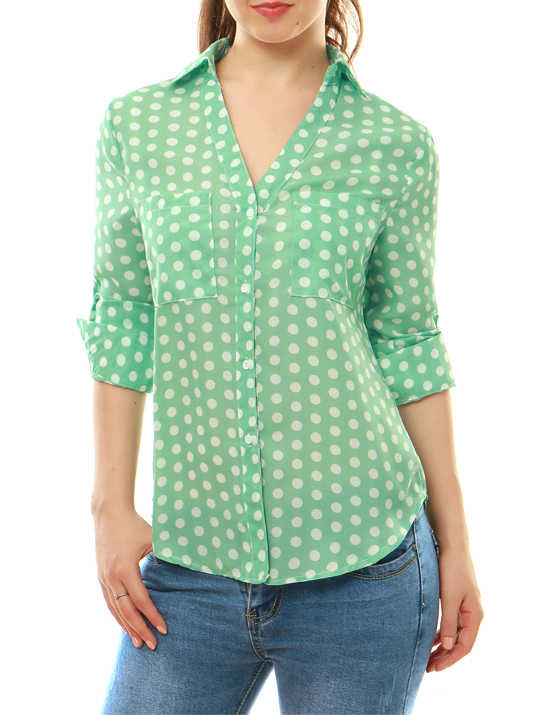 Women Polka Dots Point Collar Convertible Sleeve Shirt Green M