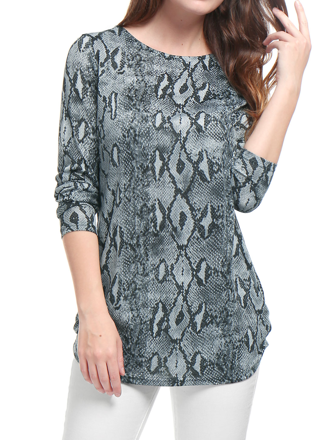 Woman Snake Print Long Sleeves Relax Fit Tunic Knit Top Gray S