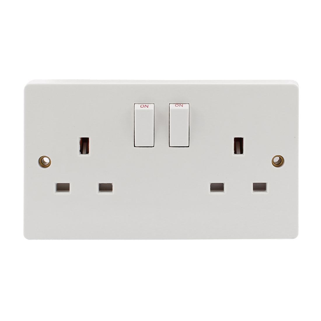 13A 250V Wall Dual Plug Socket 3x6 UK Standard Socket w 2 Switch