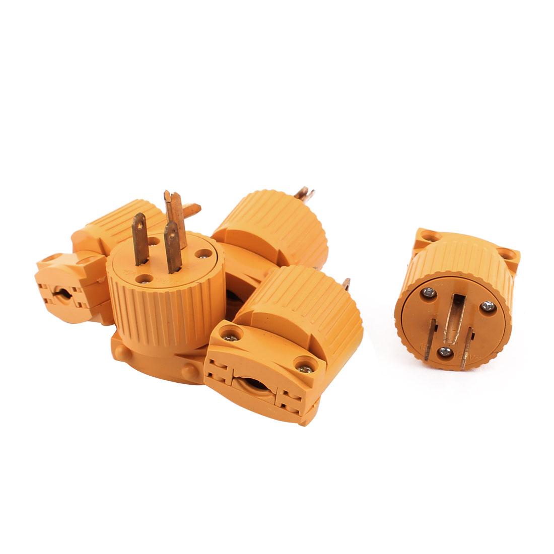 5Pcs Yellow Plastic Housing AC 125V 15A 3 Pins US Plug Rewiring Power Socket Adaptor